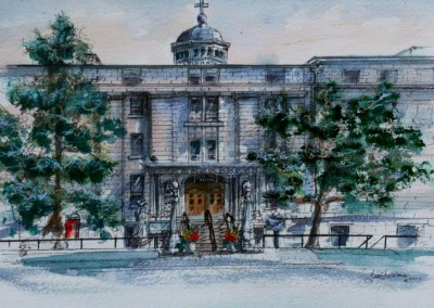 Hotel Dieu Hospital watercolour