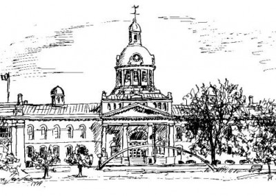 Kingston City Hall  study in black ink