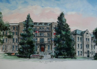 Kingston General Hospital ink and watercolour painting