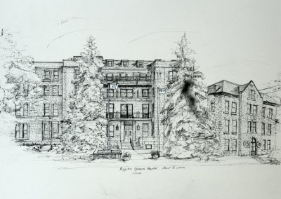 Kingston General Hospital  ink drawing