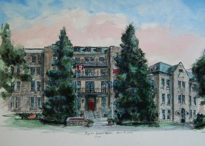 Kingston General Hospital ink &wc painting