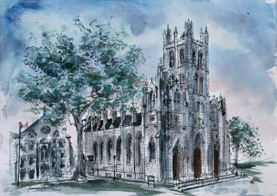 St Mary's Cathedral study in ink and wc