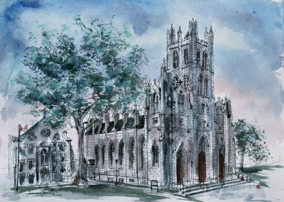 St. Mary's Cathedral (Kingston) ink and wc study